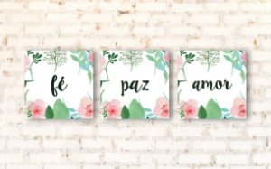 Kit 3 Placas Decorativas Fé Paz Amor