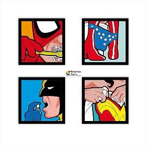 Kit 4 Quadros Decorativos Vida Secreta dos Heróis