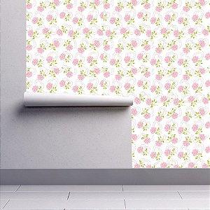 Papel De Parede Adesivo Rosas Floral Branco