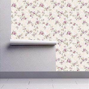 Papel De Parede Floral Delicado Rosa