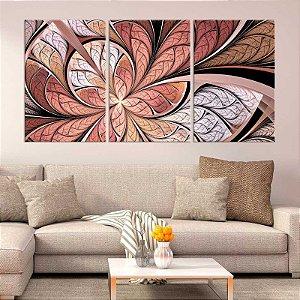 Quadro 3 Peças Abstrato Vitral Rosê Mosaico Bege