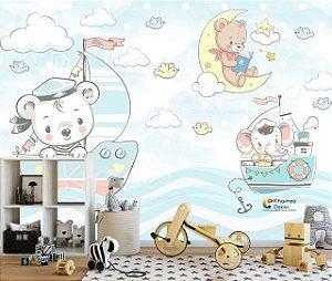 Papel de parede Ursinho Elefante Barquinho Mar Marinheiro