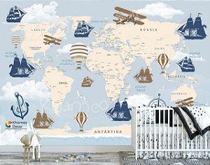 Papel de parede Mapa Mundi Aviões Barcos