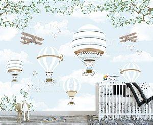 Papel de parede Ursinho Chuva de Balões