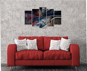 Quadro 5 Peças Quadro Abstrato fractal art Azul Cinza