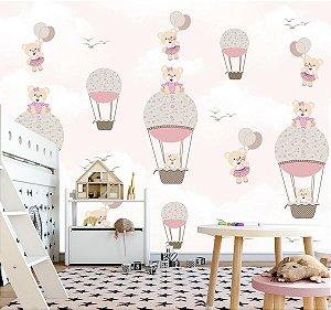 Papel de parede Ursinha Balões