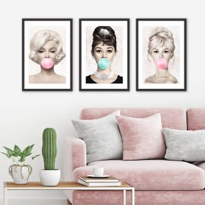 Kit 3 Quadros Marilyn Monroe Audrey Hepburn Brigitte Bardot Borda Branca