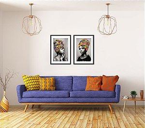 Kit 2 Quadros Mulheres Africanas Estilo Pintura Preto E Branco