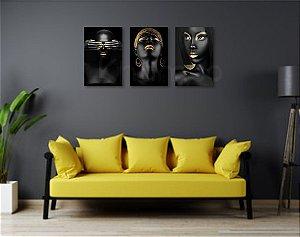 Kit 3 Placas Golden Black Negras Africanas