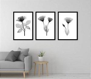 Kit 3 Quadros Flores Preto e Branco 02