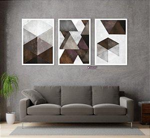 Kit 3 Quadros Abstrato Tons de Marrom Geométrico