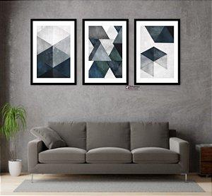 Kit 3 Quadros Abstrato Tons de Azul Geométrico Triângulo