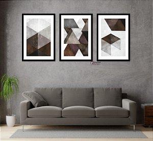 Kit 3 Quadros Abstrato Tons de Marrom Geométrico Triângulo