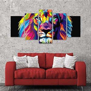 Quadro 5 Peças Leão Colorido