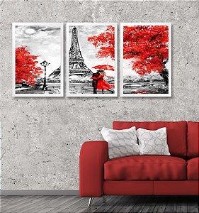 Kit 3 Quadros Paris Estilo Pintura Torre Eiffel