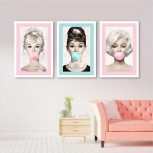 Kit 3 Quadros Marilyn Monroe Audrey Hepburn Brigitte Bardot Borda Colorida