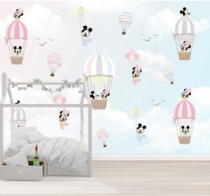 Papel de parede Mickey Mouse Baby e Minnie Baby Unissex