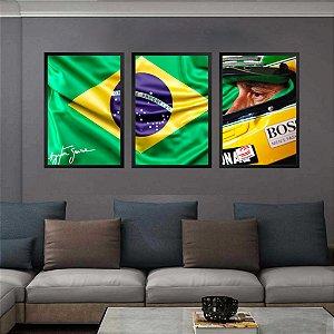 Kit 3 Quadros Mosaico Ayrton Senna Piloto Corrida