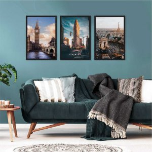 Kit 3 Quadros Londres New York Paris Arco do Triunfo