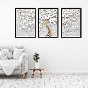 Kit 3 Quadros Árvore Cerejeira Branca Flores
