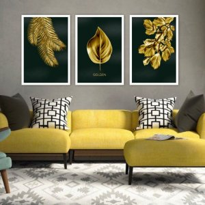 Kit 3 Quadros Folhas Douradas Folha Gold Black Ouro