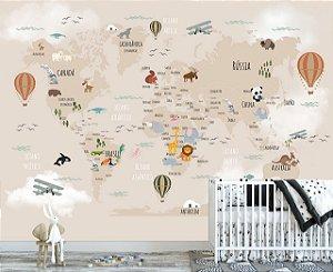Papel De Parede Infantil Mapa Mundi Safari Marrom 02