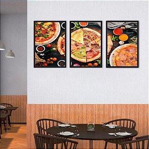 Kit 3 Quadros Pizza Calabresa Mista Queijo 4 Queijo 01