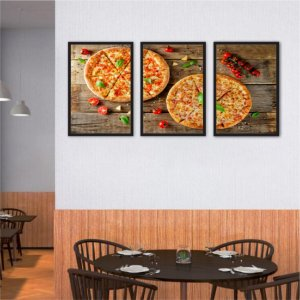 Kit 3 Quadros Pizza Frango Tomate Frango Limão 03