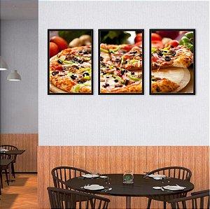 Kit 3 Quadros Pizza Azeitona Pimentão Queijo 04