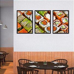 Kit 3 Quadros Sushi Vegetariano Ovas De Peixe Cubinhos