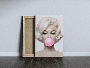 Quadro Marilyn Monroe Chiclete Rosa Tecido Canvas Tela