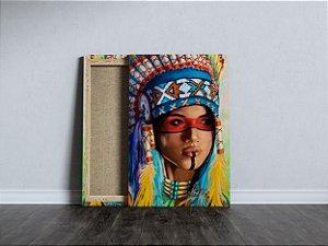 Quadro Índia Tecido Canvas Tela Índia Color Alta 40x60 Cm