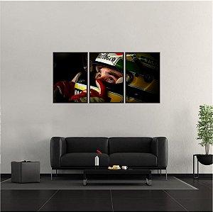 Kit 3 Quadros Mosaico Ayrton Senna Piloto Corrida 03