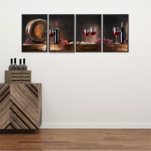 Kit 4 Quadros Vinho Santa Ceia