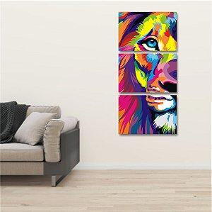 Kit 3 Placas Mosaico Leão Colorido