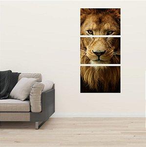Kit 3 Placas Mosaico Leão de Judá Lion Rei da selva Animais