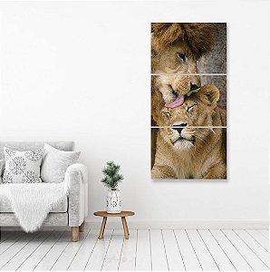 kit 3 Placas Leão é Leoa Lion Selva Natureza