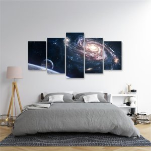 Quadro 5 Peças Espaço Sideral Paisagem Universo