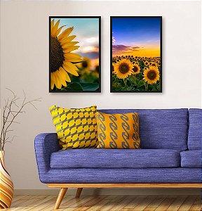2 Quadros Girassol Amarelo Flor Por do Sol Paisagem