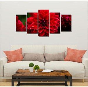 Quadro 5 Peças Mosaico Dahlia Grandalia Dark Red Vermelha Rosa Flor