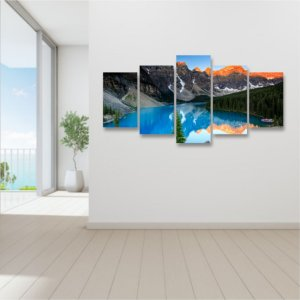 Quadro 5 peças Grande Canada Lago Paisagem Montanha Nuvens