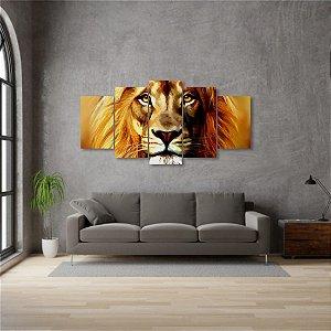Quadro Grande 5 peças Leão Rei da Selva Animal Lion