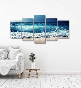 Quadro Grande 5 peças Mar Ondas Água Oceano Natureza Areia