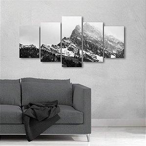 Quadro Grande 5 peças Montanha Neve Paisagem Neblina