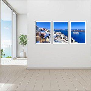 Kit 3 Quadros Grécia Ponto Turístico Oceano Paisagem 03