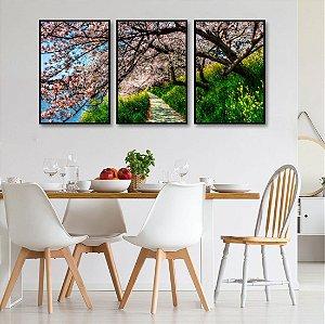 Kit 3 quadros Grande Árvore Rosa Plantas Floresta Galhos