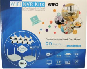 KIT NVR ARFO SMART DIY (INSTALE VOCE MESMO), AR-2008pg1w, 9 Canais (8 Canais Wireless/Ip cabo + 1 Ip cabo), Com 8 Câmeras Wireless S100W Ir-30mt