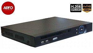 NVR ARFO MOD. XVR AR-2104A, 5X1, FULL HD, 4Mp IP (grav.), 16CH IP, Até 20 TB (hd não incluso)