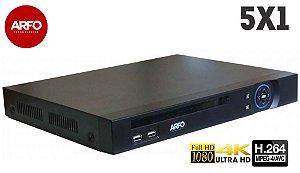 NVR/DVR ARFO MOD. XVR AR-3108A, 5X1, FULL HD, 1080p, 4K IP (grav.), 32CH IP OU 8CH BNC, Até 20 TB (hd não incluso)