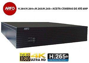 NVR ARFO 3664 Modelo NVR 3664L 64 Canais IP ULTRA HD/4K, H.264/H.264+/H.265/H.265+, Armazenamento Até 80 TB